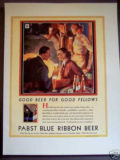 Couples Enjoying Pabst Blue Ribbon Beer (1934)