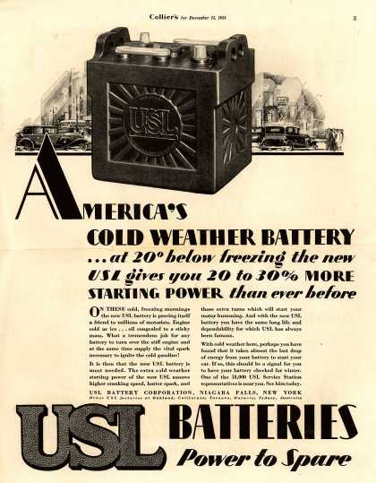 USL Battery Corporation's Batteries – America's Cold Weather Battery (1928)