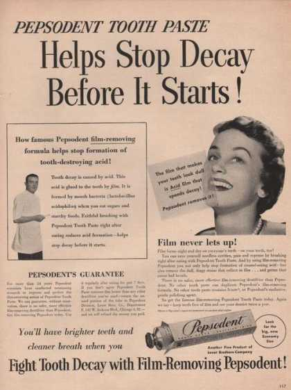 Pepsodent Tooth Past Fight Tooth Decay (1949)