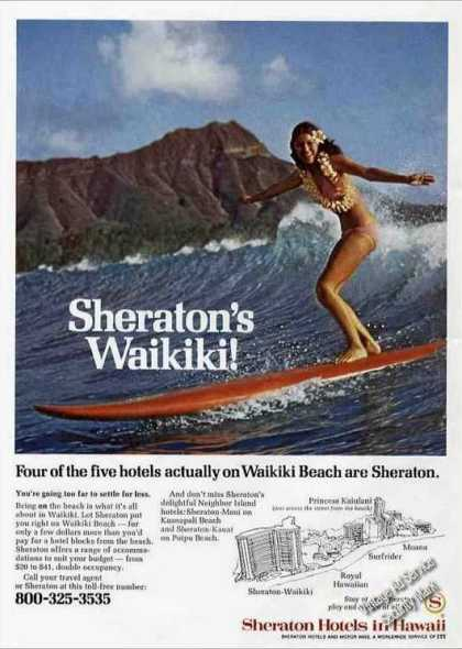 Pretty Surfing Girl Photo Sheraton Waikiki Print A (1974)