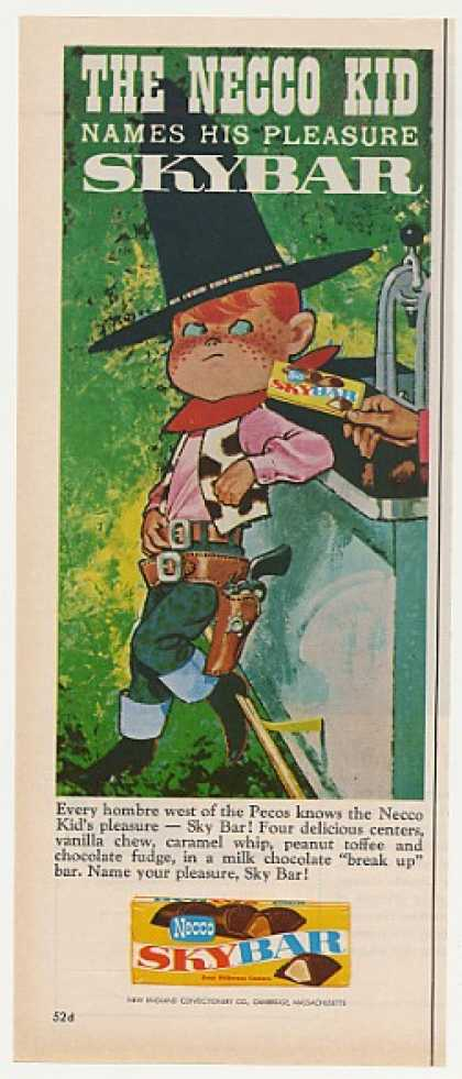 Necco Kid Cowboy Skybar Sky Bar Candy (1961)