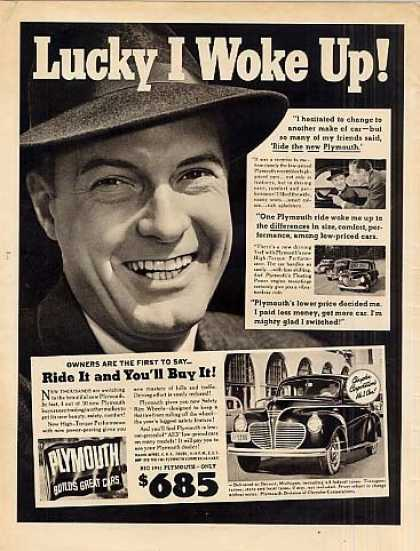 "Plymouth Car Ad ""Lucky I Woke Up... (1941)"
