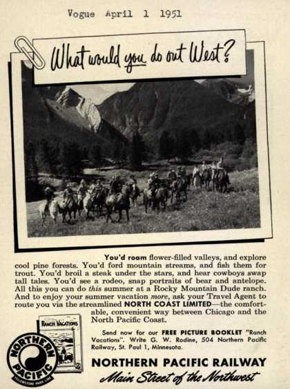 Northern Pacific Railway Company's western U.S. – What would you do out West? (1951)