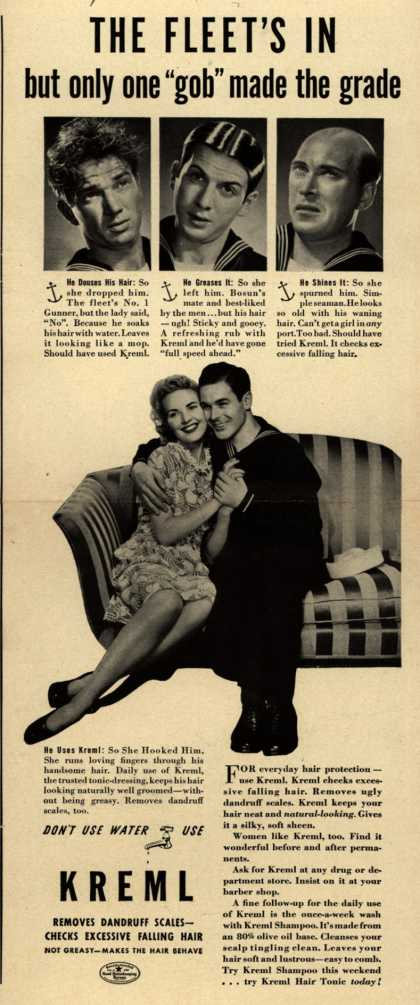 """Kreml's hair tonic – THE FLEET'S IN but only one """"gob"""" made the grade (1941)"""
