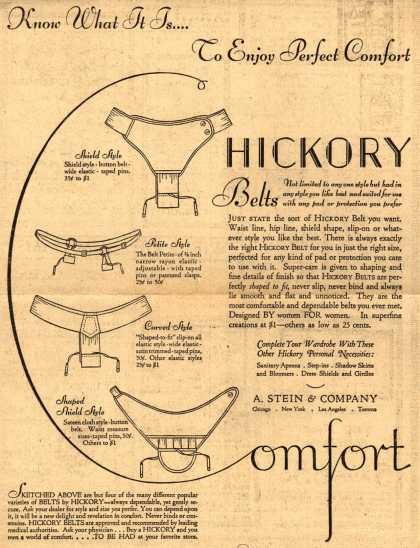 A. Stein &amp; Company&#8217;s Hickory Sanitary Belts &#8211; Know What It Is... To Enjoy Perfect Comfort (1930)
