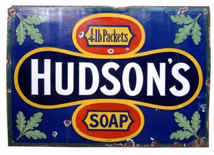 Hudson's Soap 1/4 LB Packets Enamel Sign