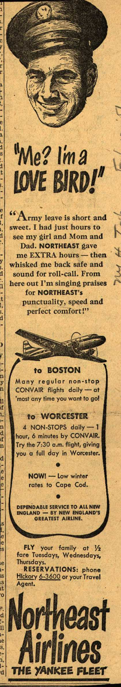"Northeast Airline's Service and Safety – ""Me? I'm a LOVE BIRD!"" (1951)"