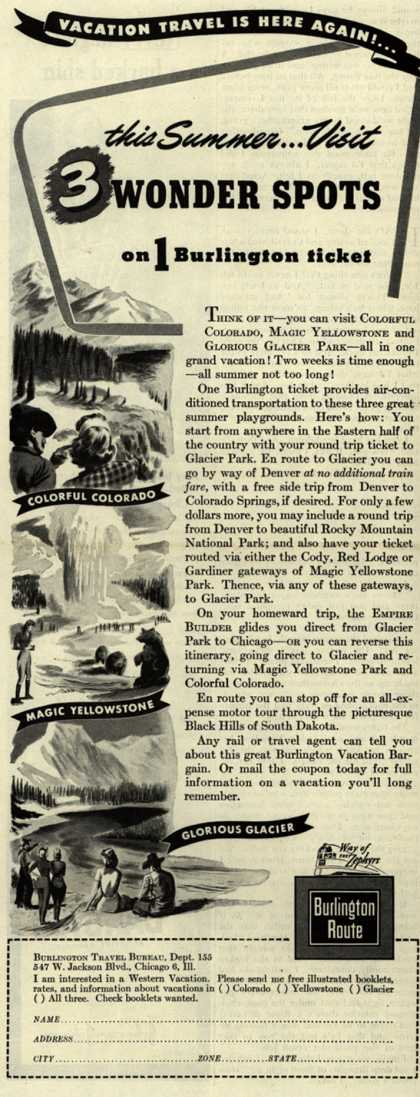 Burlington Route's United States National Parks – Vacation Travel Is Here Again!...this Summer...Visit 3 WONDER SPOTS on 1 Burlington ticket (1947)
