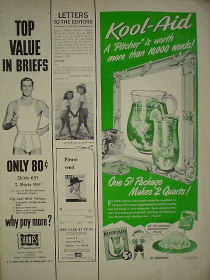 Kool Aid Drink AND Wrisley Bath items 1/2 pgs (1950)