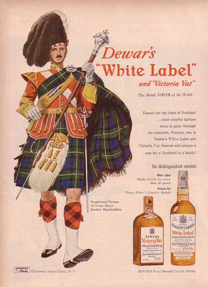 Dewar's White Label – Tartan of Drum Major Gordon Highlanders (1948)