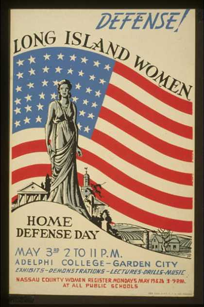 Defense! – Long Island women – Home defense day – Exhibits – demonstrations – lectures – drills – music / JD. (1941)