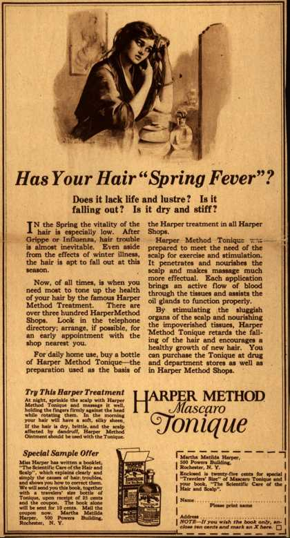 "Martha Matilda Harper's Harper Method Mascaro Tonique – Has Your Hair ""Spring Fever""? (1923)"