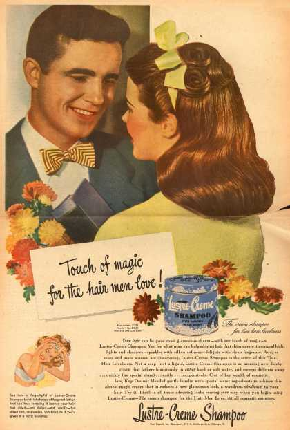 Kay Daumit's Lustre-Creme Shampoo – Touch of magic for the hair men love (1947)