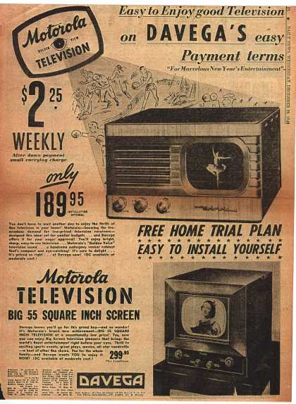 Motorola's Television – Easy to Enjoy good Television on Davega's easy Payment terms (1948)