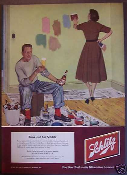 Man & Woman Painting & Drinking Schlitz Beer (1952)