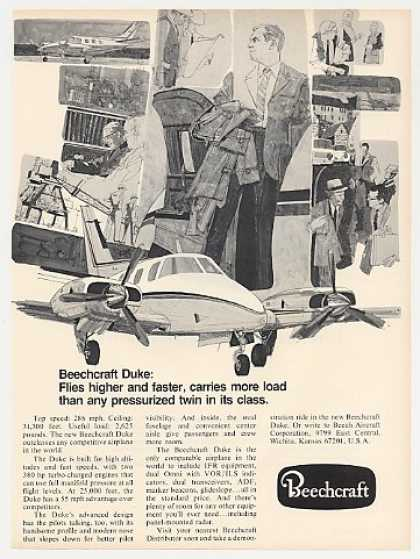 Beechcraft Duke Airplane Flies Higher Faster (1969)
