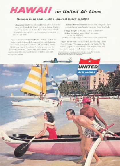 United Airlines Hawaii Ad Outrigger Canoe (1958)