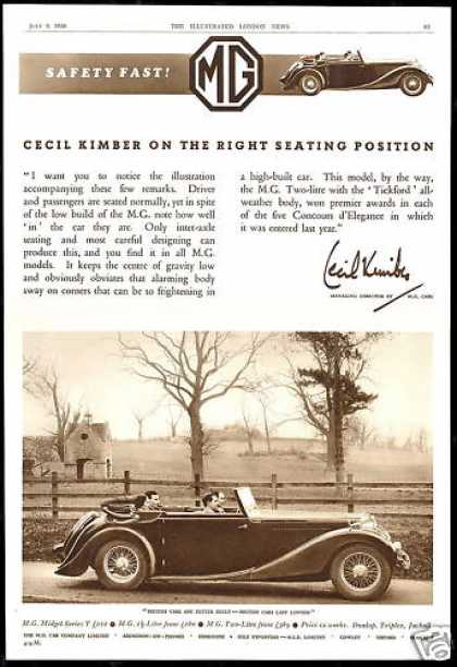 MG M.G. Car Correct Seating Cecil Kimber UK (1938)