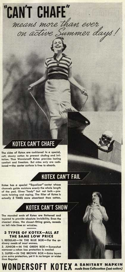 "Kotex Company's Wondersoft Kotex – ""Can't Chafe"" means more than ever on active Summer days (1936)"