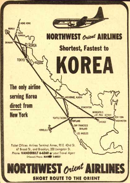 Northwest Airline's Korea – Northwest Orient Airlines Shortest, Fastest to KOREA (1953)