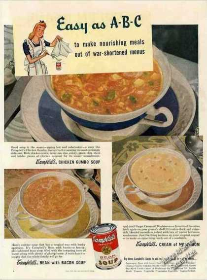 Campbell's Bean, Chicken Gumbo & Mushroom Soup (1944)