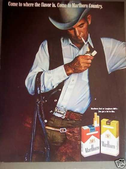 Cowboy Smoking Marlboro Cigarettes (1970)