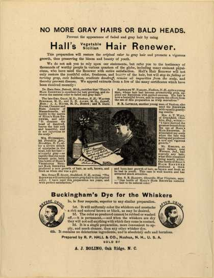 R. P. Hall & Co.'s Hall's Vegetable Sicilian Hair Renewer – No More Gray Hairs or Bald Heads