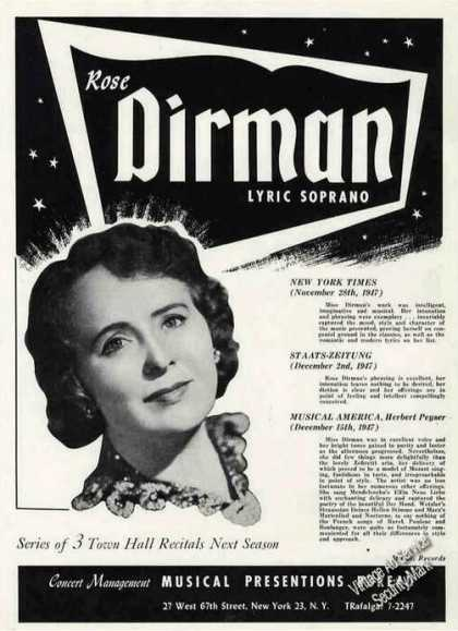Rose Dirman Photo Lyric Soprano Trade (1948)