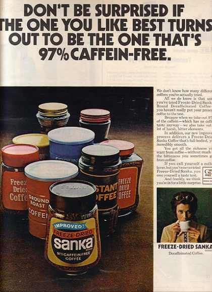 Sanka's Freeze-Dried 97% Caffein Free Coffee (1971)