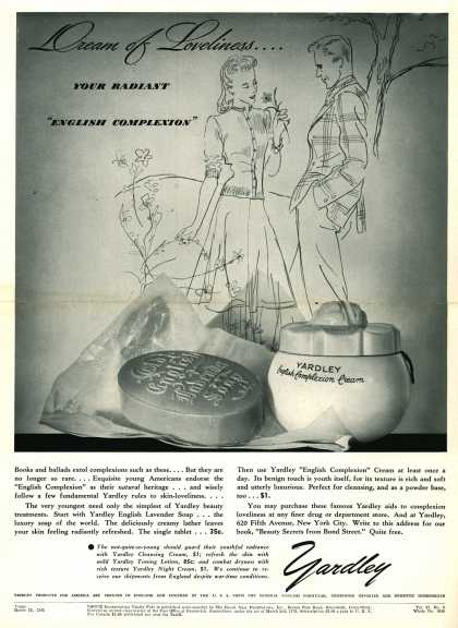 Yardley of London's Yardley's English Complexion Cream – Dream of Loveliness... (1941)
