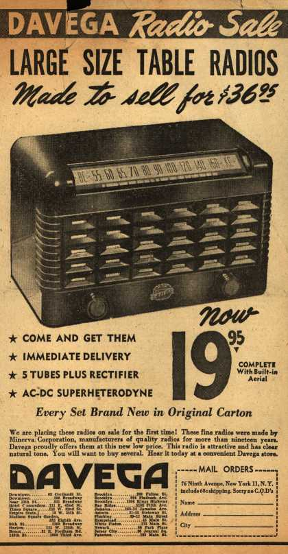 Minerva Corporation's Table Radios – Davega Radio Sale, Large Size Table Radios Made to sell for $36.95 (1947)