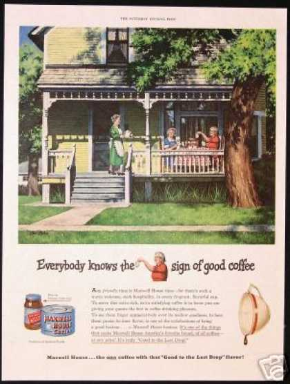 Vintage House Porch Ekman Maxwell House Coffee (1949)