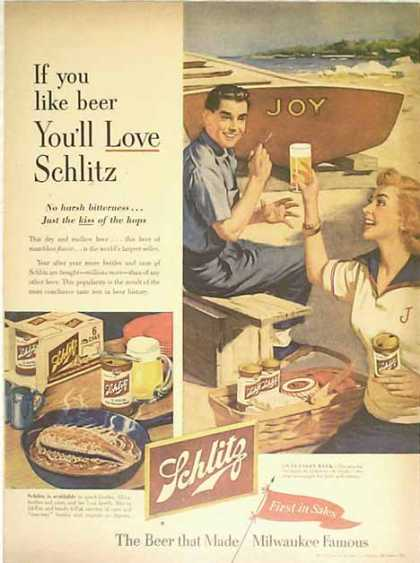 Schlitz Beer – Seaside Color Picture (1953)