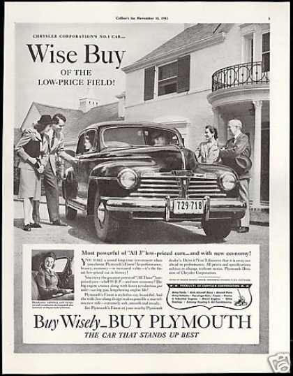Plymouth Car Wise Buy Vintage Photo (1942)