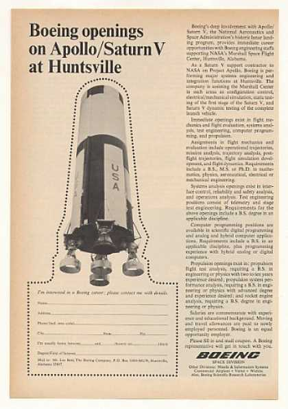 Boeing Apollo Saturn V Huntsville AL Jobs (1967)
