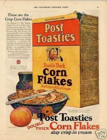 Post Toasties Corn Flakes Cereal Color (1925)