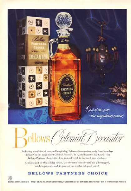 Bellows Partners Choice Whisky Bottle (1959)