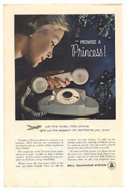 Bell Princess Telephone Light Up White Phone (1960)