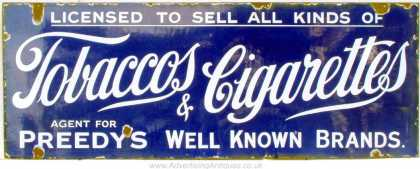 Preedy's Tobacco & Cigarettes Agent Sign