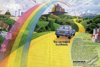 """You Can Make It In a Honda"" Large Rainbow (1977)"
