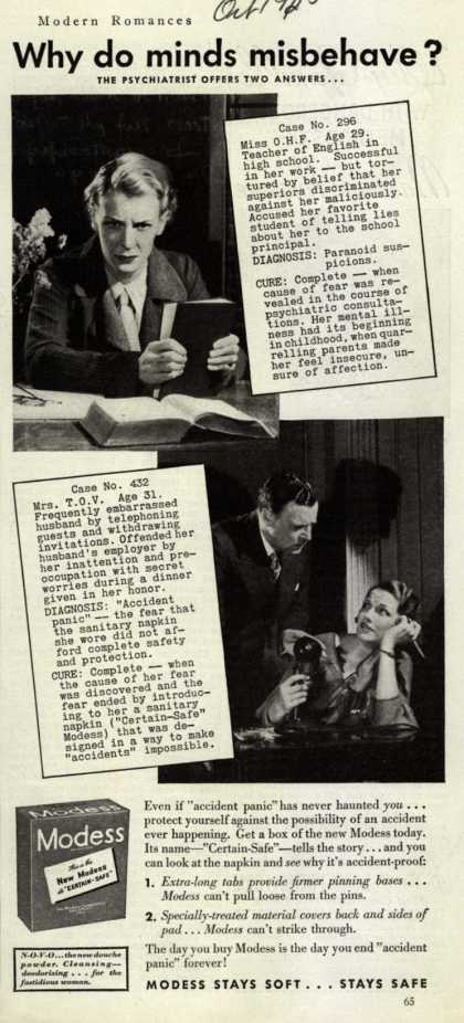 Modes's Sanitary Napkins – Why do minds misbehave? (1935)