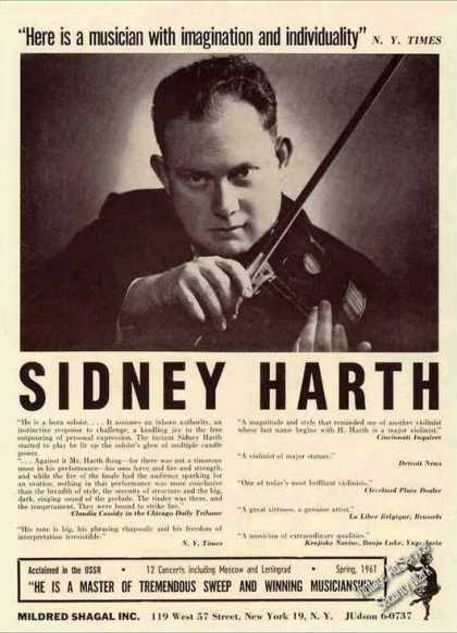 Sidney Harth Photo Violinist Booking (1962)