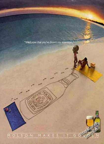 Molson Makes It Golden Clever Beach Scene Beer (1985)
