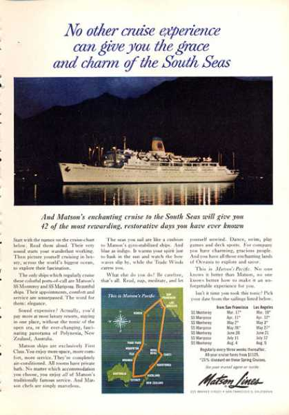 Matson Line South Seas Monterey Mariposa Cruise (1963)