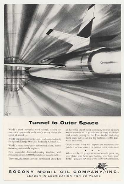Spacecraft Wind Tunnel art Socony Mobil Oil (1956)