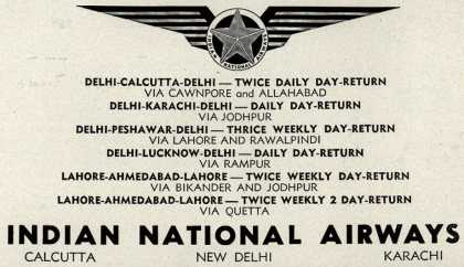 Indian National Airway's various destinations – Indian National Airways (1947)