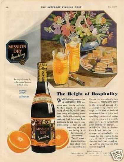 "Mission Dry Orange Beverage Color Ad ""The Height.. (1930)"