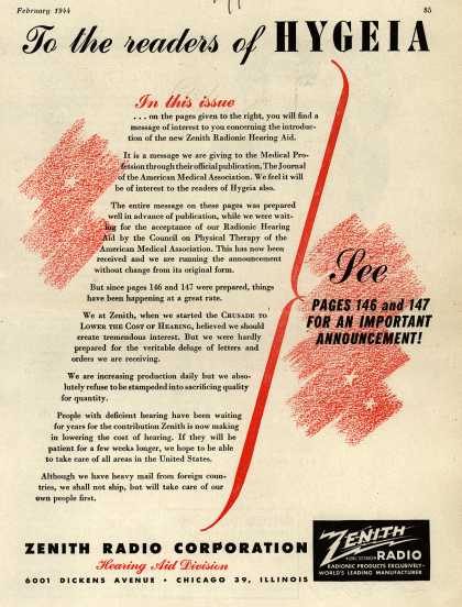 Zenith Radio Corporation's Hearing Aids – To the Readers of Hygeia (1944)