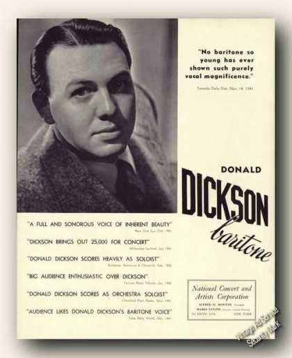 Donald Dickson Photo Baritone Antique (1942)