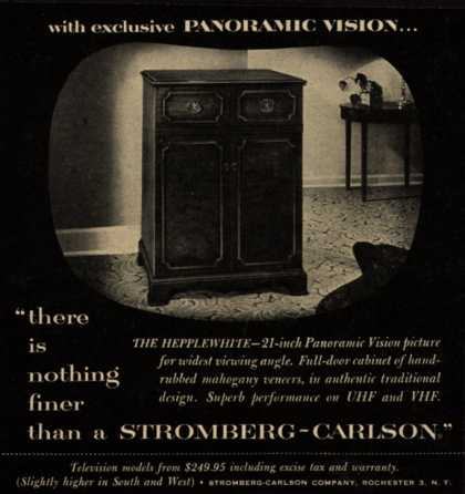 "Stromberg-Carlson Company's The Hepplewhite – with exclusive Panoramic Vision ""there is nothing finer than a Stromberg-Carlson."" (1953)"